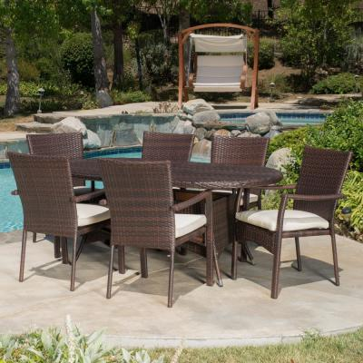 Hope Multi-Brown 7-Piece Wicker Outdoor Dining Set with Crme Cushion