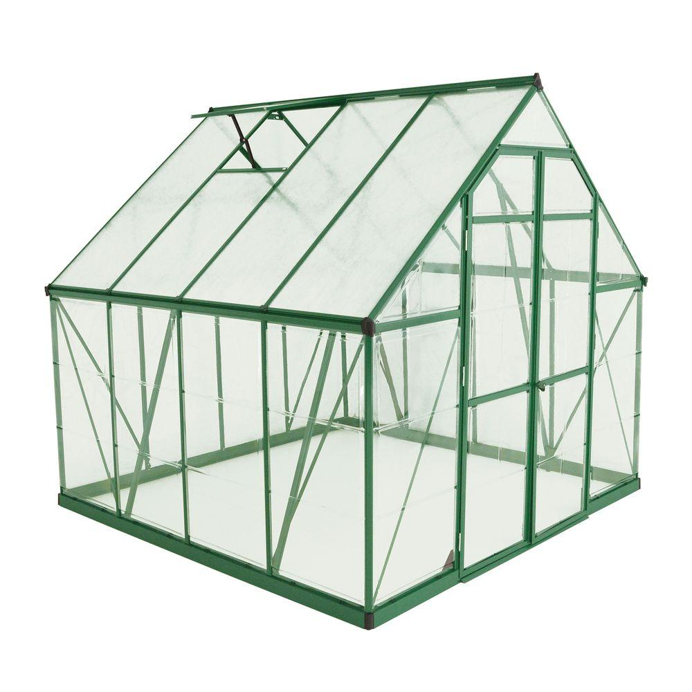 Palram Balance 8 ft. x 8 ft. Green Polycarbonate Greenhouse
