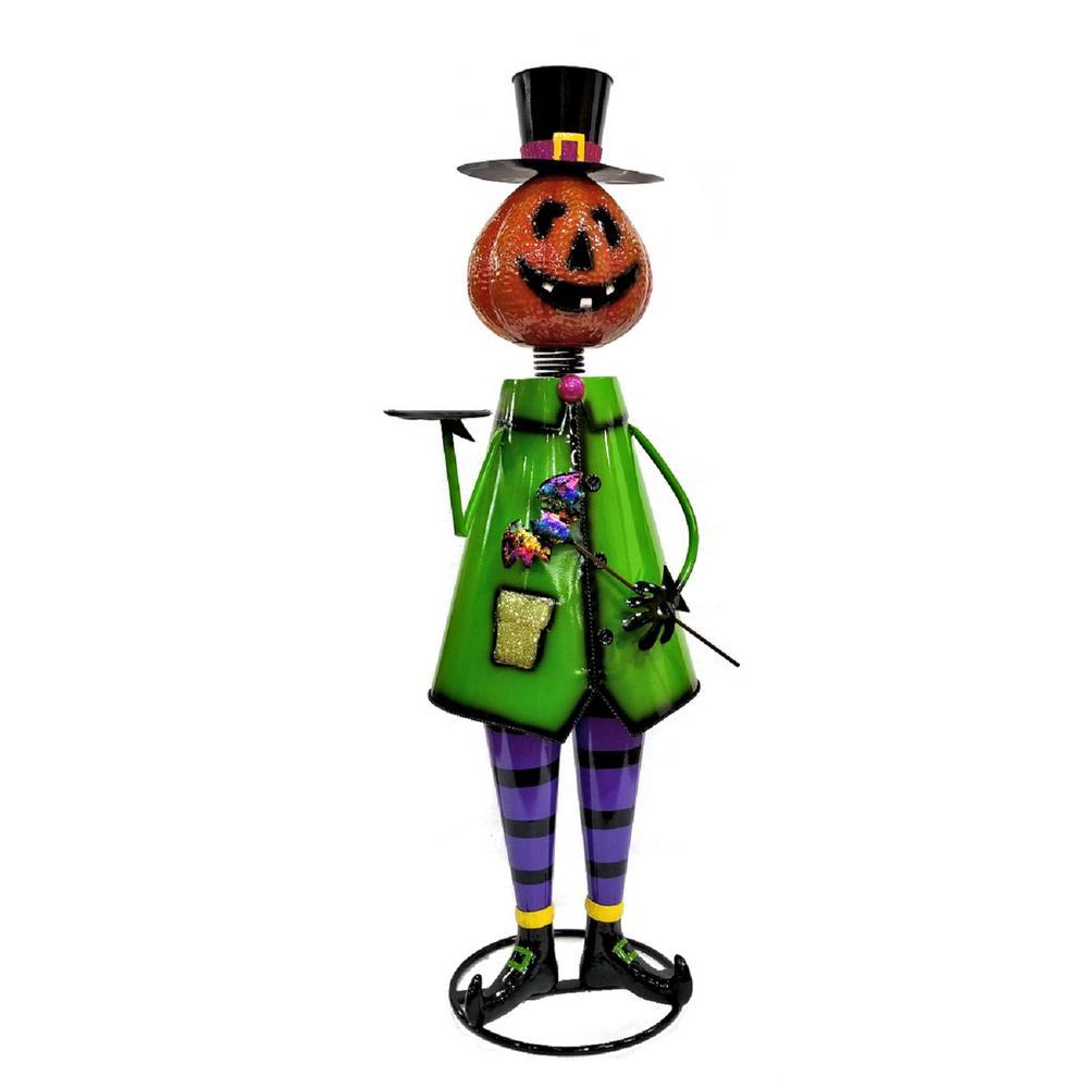 60 in. Iron Pumpkin Man Halloween Yard Decoration
