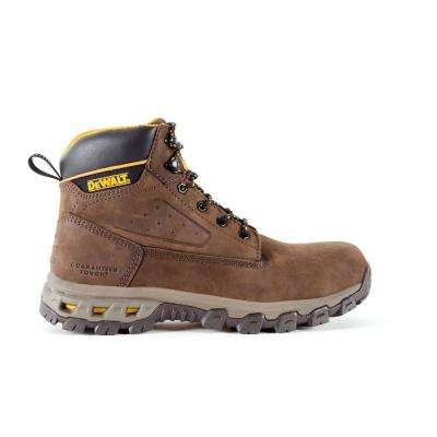 Halogen Men's Dark Brown Leather Aluminum Toe 6 in. Work Boot