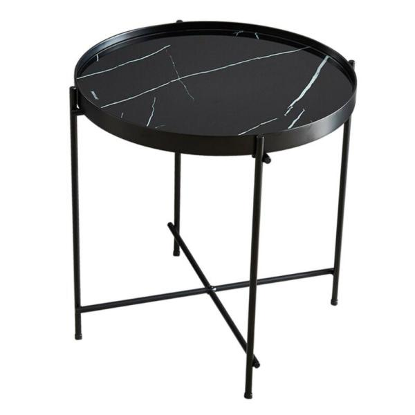 Boyel Living 17 In Black Small Round Glass Coffee Table Ma Ts00112nbmbk The Home Depot