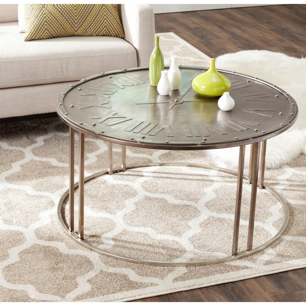 Roman Dark Antique Silver Coffee Table