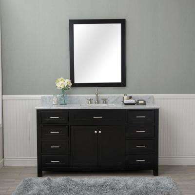 Norwalk 60 in. W x 22 in. D Vanity in Espresso with Marble Vanity Top in White with White Basin and Mirror