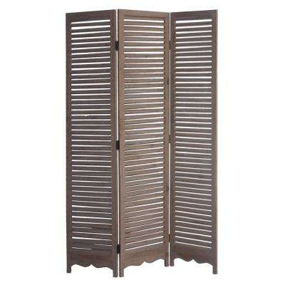 Tuscan 6 ft. Brown 3-Panel Room Divider