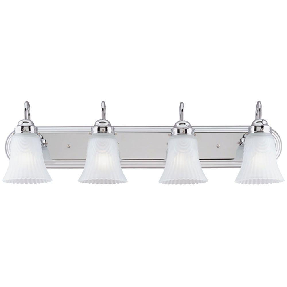 Westinghouse 4-Light Chrome Interior Wall Fixture with Frosted Pleated Glass