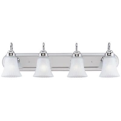 4-Light Chrome Interior Wall Fixture with Frosted Pleated Glass