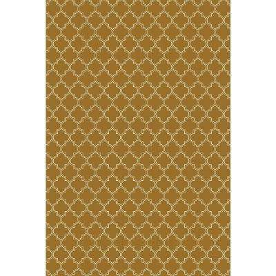 Quaterfoil Design 4ft x 6ft brown & white Indoor/Outdoor vinyl rug.