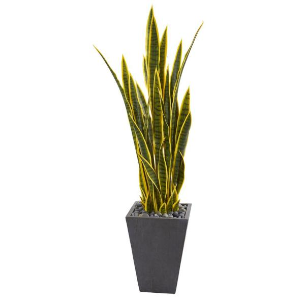 Nearly Natural Indoor 4.5 Sansevieria Artificial Plant in Slate Planter 9438