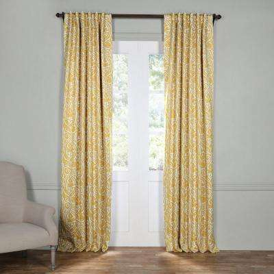 Semi-Opaque Abstract Misted Yellow Blackout Curtain - 50 in. W x 96 in. L (Panel)
