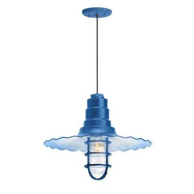 Radial Wave 18 in. Shade 1-Light Blue Finish Pendant