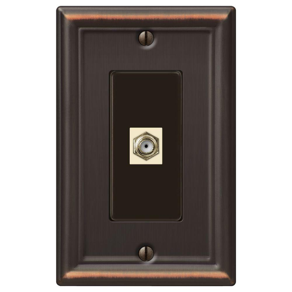 Chelsea 1-Gang Coax Wall Plate - Aged Bronze