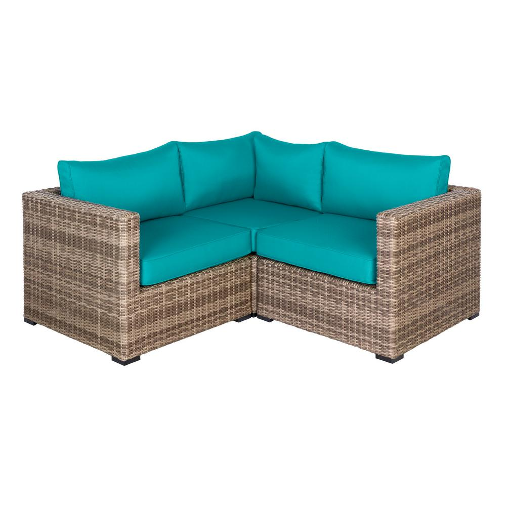 Hampton Bay Muirwood 3-Piece Wicker Outdoor Patio Conversation Set with Blue Cushions