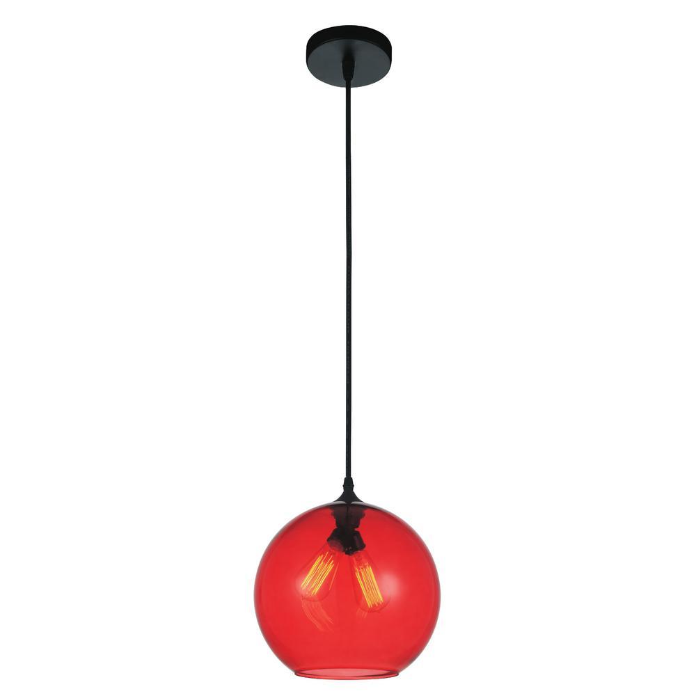 red pendant lighting. CWI Lighting Glass 2-Light Transparent Red Pendant E