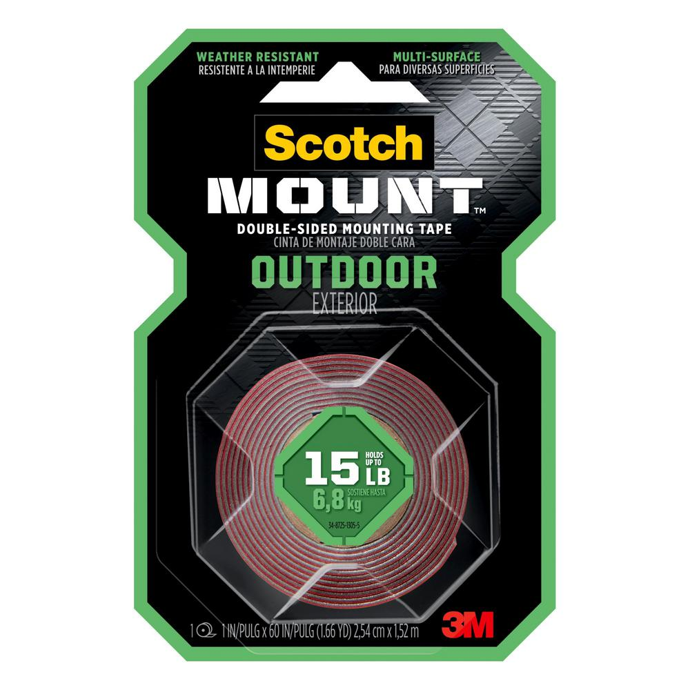 3M Scotch 1 in. x 1.66 yds. Permanent Double Sided Outdoor Mounting Tape