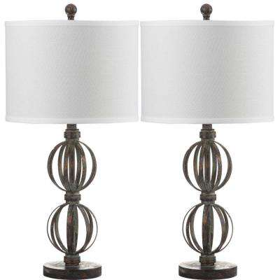 Calista Double Sphere 27.75 in. Oil-Rubbed Bronze Table Lamp with Off-White Shade (Set of 2)