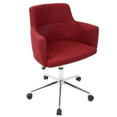 Andrew Contemporary Adjustable Red Fabric Office Chair