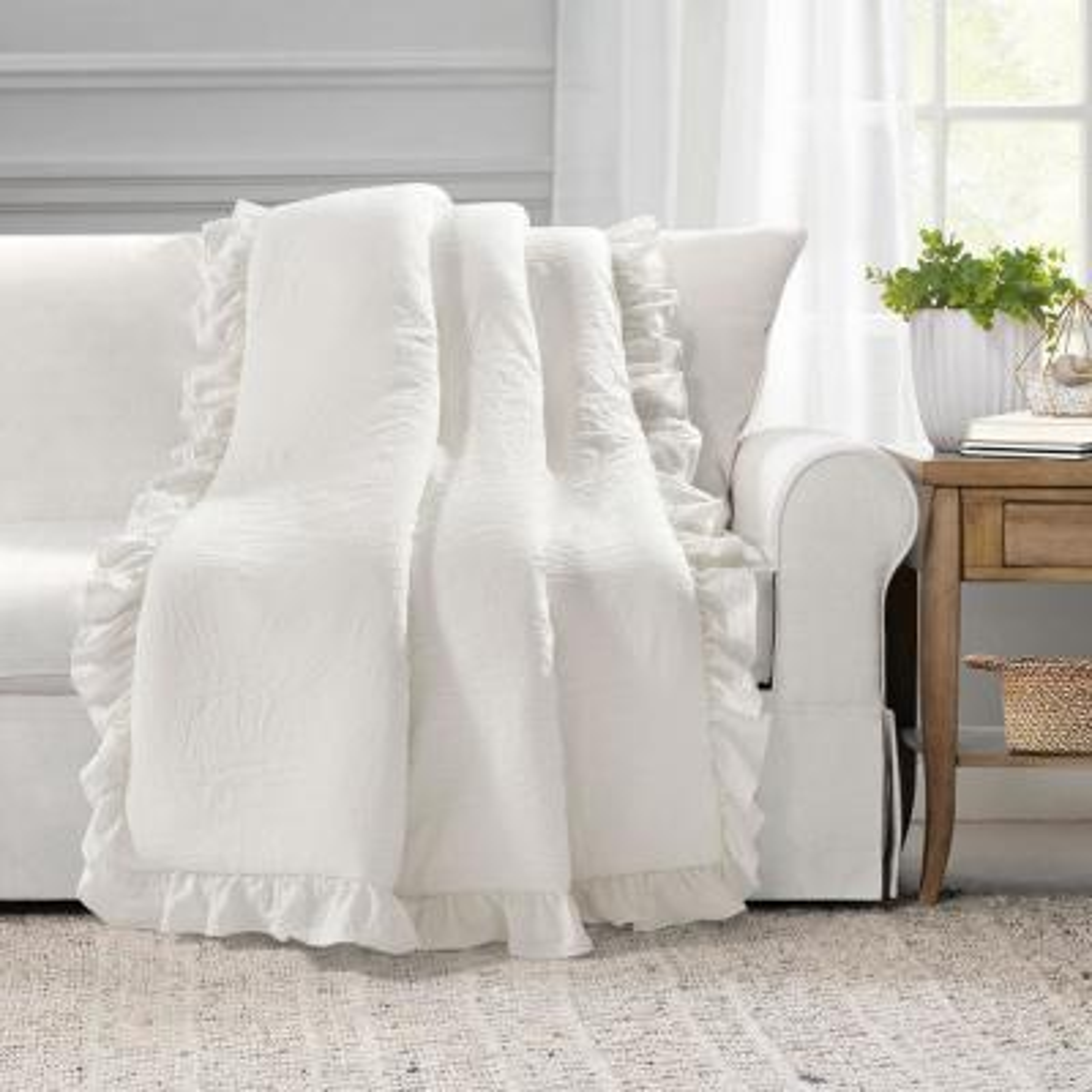 Reyna White Single Throw Blanket 50 in. x 60 in.