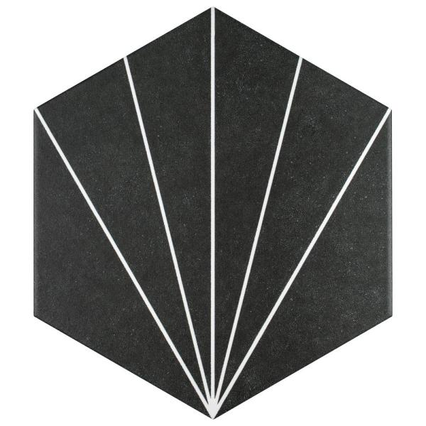 Aster Hex Nero Encaustic 8-5/8 in. x 9-7/8 in. Porcelain Floor and Wall Tile (11.56 sq. ft. / case)
