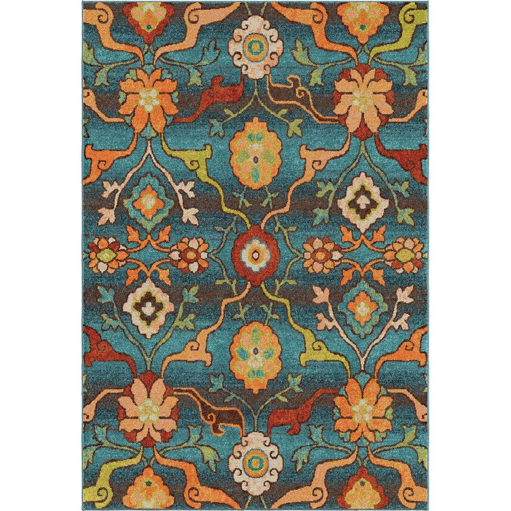 Orian Rugs Punjab Blue Floral Bright Colors 8 Ft X 11 Ft Indoor