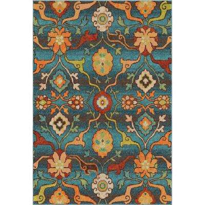 Punjab Blue Floral Bright Colors 8 ft. x 11 ft. Indoor Area Rug