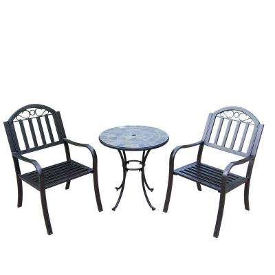 26 in. Table with Stone Art Rochester 3-Piece Patio Bistro Set