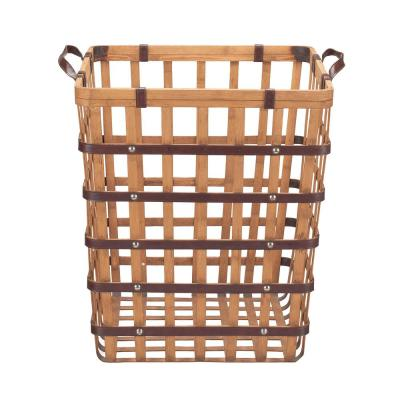 Home Decorators Collection Square Natural Bamboo and Leather Decorative Basket with Leather Handles