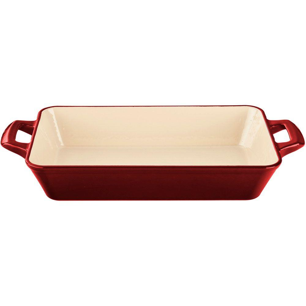 Large Deep Cast Iron Roasting Pan with Enamel Finish in Red