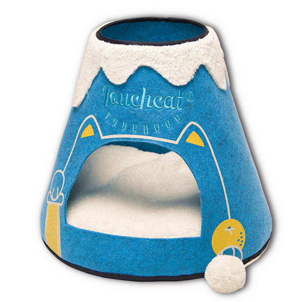 Blue and White Molten Lava Designer Triangular Cat Pet Kitty House