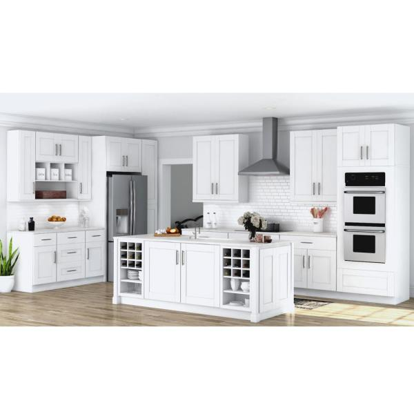Hampton Bay Shaker Assembled 30x34 5x24 In Base Kitchen Cabinet With Ball Bearing Drawer Glides In Satin White Kb30 Ssw The Home Depot