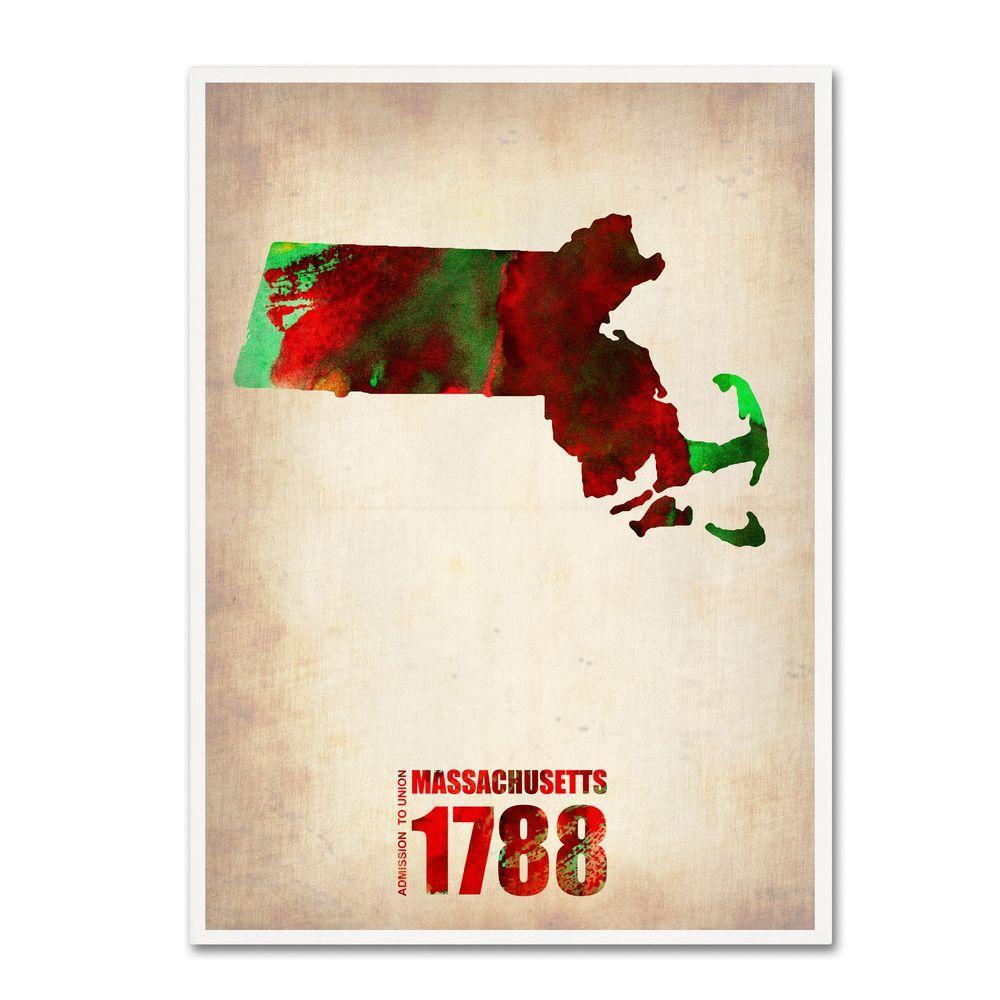 24 in. x 18 in. Massachusetts Watercolor Map Canvas Art