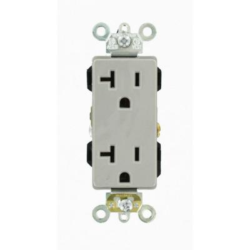 Decora Plus 20 Amp Industrial Grade Heavy Duty Self Grounding Duplex Outlet, Gray