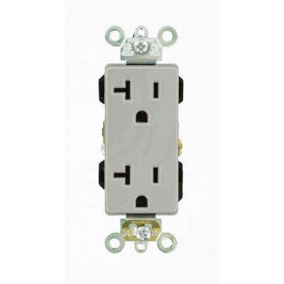 Decora Plus 20 Amp Industrial Grade Heavy Duty Self Grounding Duplex Outlet, Gray