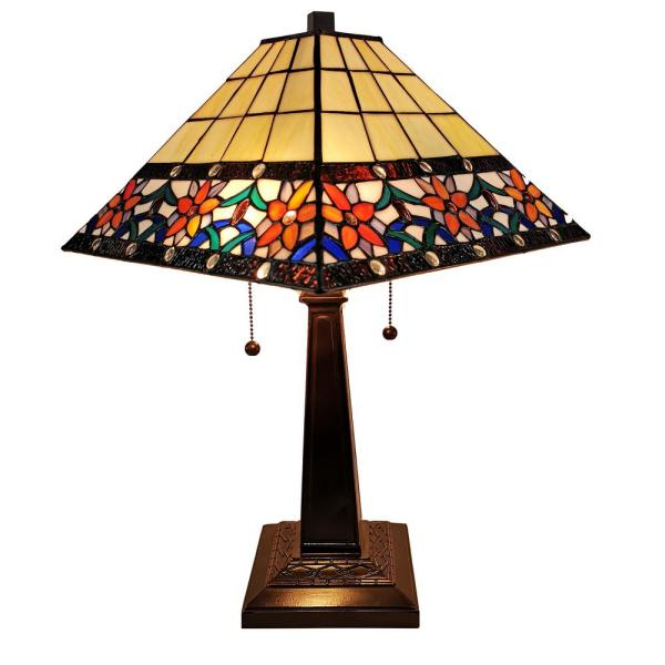 23 in. Tiffany Style Floral Mission Table Lamp