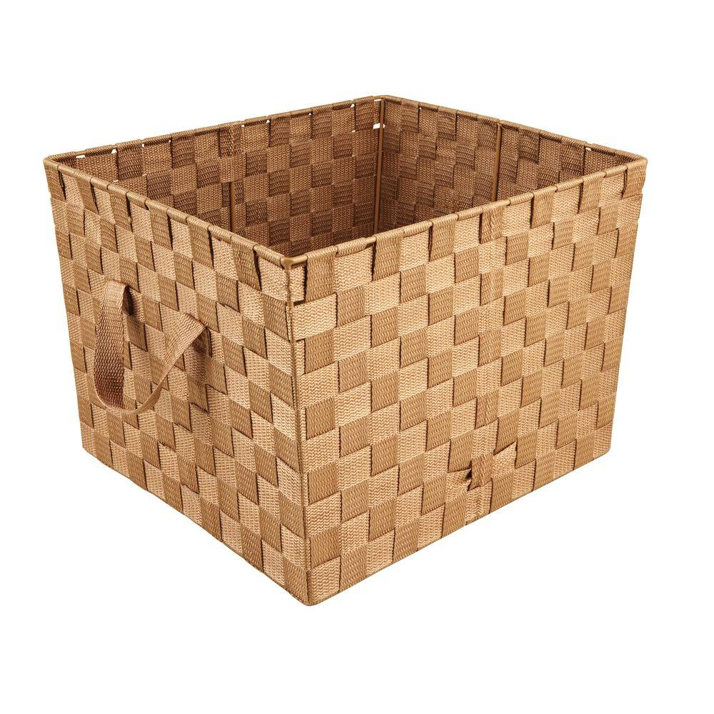 Simplify 10 in. x 15 in. 730 g Large Woven Strap Storage Tote Bin with Handles in Chocolate