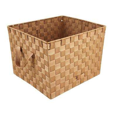 10 in. x 15 in. 730 g Large Woven Strap Storage Tote Bin with Handles in Chocolate