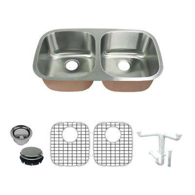 Classic All in.-One Undermount Stainless Steel 32.37 in. 50/50 Double Bowl Kitchen Sink in Brushed Stainless Steel