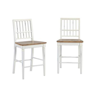 Shutters Light Oak and Distressed White Counter Chairs (2-Count)
