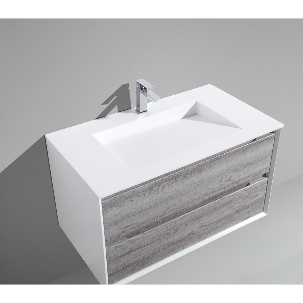 MTD Vanities Tahiti 36 in. W x 20 in. D x 20 in. H Floating Vanity in Grey Oak with Acrylic Top in White with White Infinity Basin