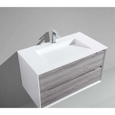 Tahiti 36 in. W x 20 in. D x 20 in. H Floating Vanity in Grey Oak with Acrylic Top in White with White Infinity Basin