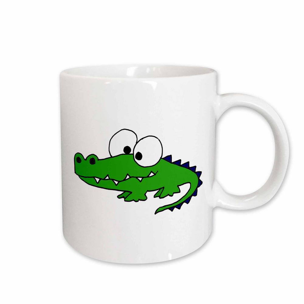 All Smiles Art Reptiles and Amphibians 11 oz. White Ceramic Funky Green Alligator