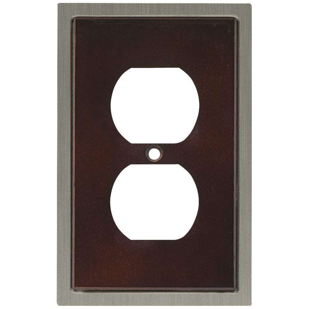 Insert Decorative Single Duplex Outlet Cover, Espresso and Satin Nickel