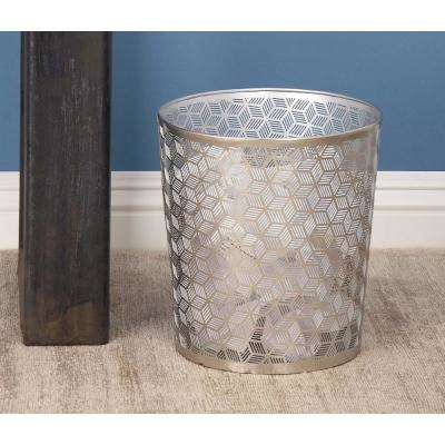 10 in. Gray and Silver Cylindrical Metal Waste Can with Geometrical Pattern Cut-Outs