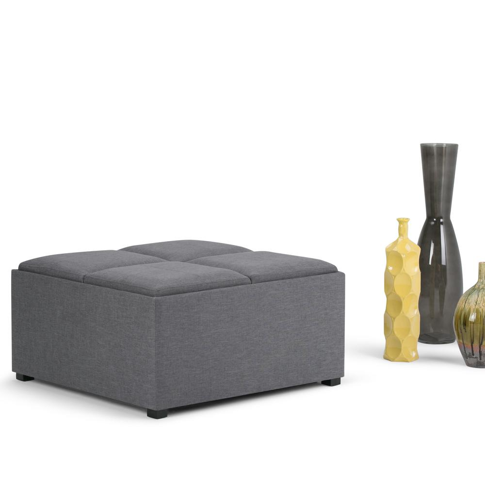 Simpli Home Avalon Slate Grey Storage OttomanAYF07GL The