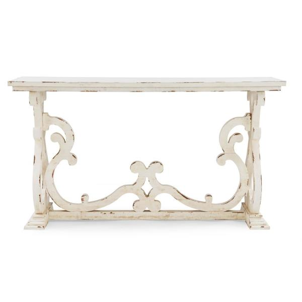 Lucas 33 in. Distressed White Console