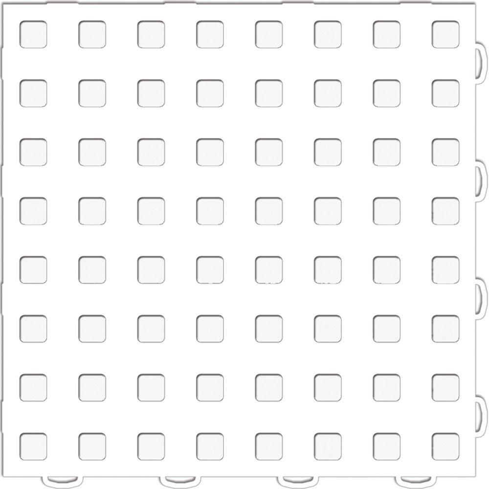 WeatherTech TechFloor 12 in. x 12 in. White/White Vinyl Flooring Tiles (Quantity of 10)