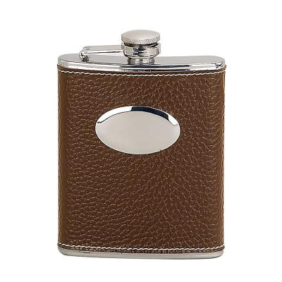 6 oz. Faux Leather Wrapped-Brown Flask