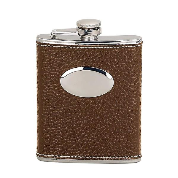 Heim Concept 6 oz. Faux Leather Wrapped-Brown Flask 81418