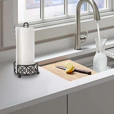 Free Standing Metal Paper Towel Holder in Black