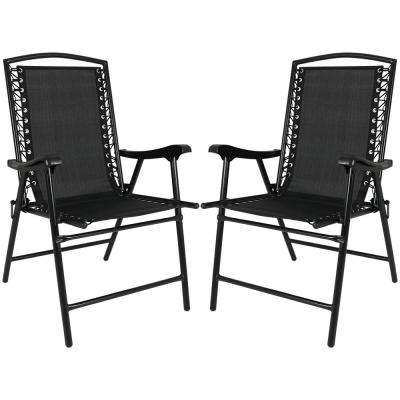 Black Sling Folding Beach Lawn Chairs (Set of 2)