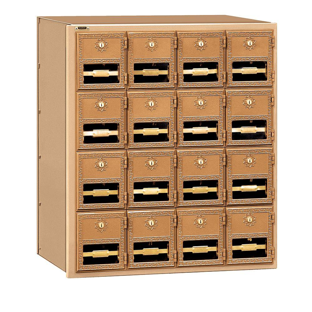 2000 Series Brass Rear Loading Mailbox with 16 Doors